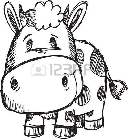 Cute Doodle Sketch Cow Vector Illustration  Stock Vector