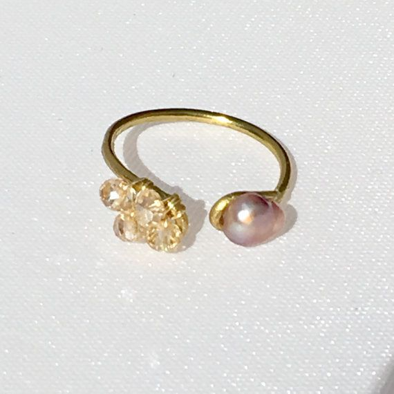 Swarovski crystal and pearl horseshoe ring by MyWiredJewelry