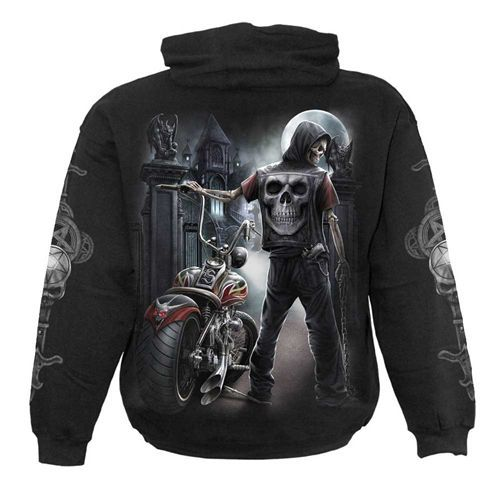 Night Church, gothic fantasy metal skelet motor hoody trui met capuchon zwart - XL - Spiral