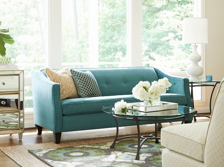 La-Z-Boy Bijou Sofa | This sofa features an elegant long, single cushion, tapered legs and welting. | Plus, PIN TO WIN a chair and a half! Get contest details at houseandhome.com/la-z-boy | #sofa #livingroom #furniture