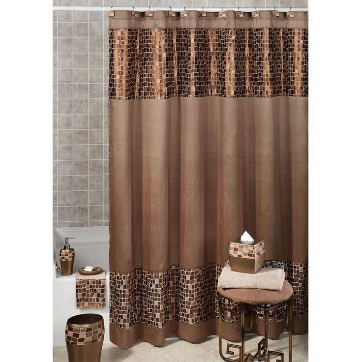 Brown And Cream Shower Curtain Bronze Mosaic Stone Fabric Shower