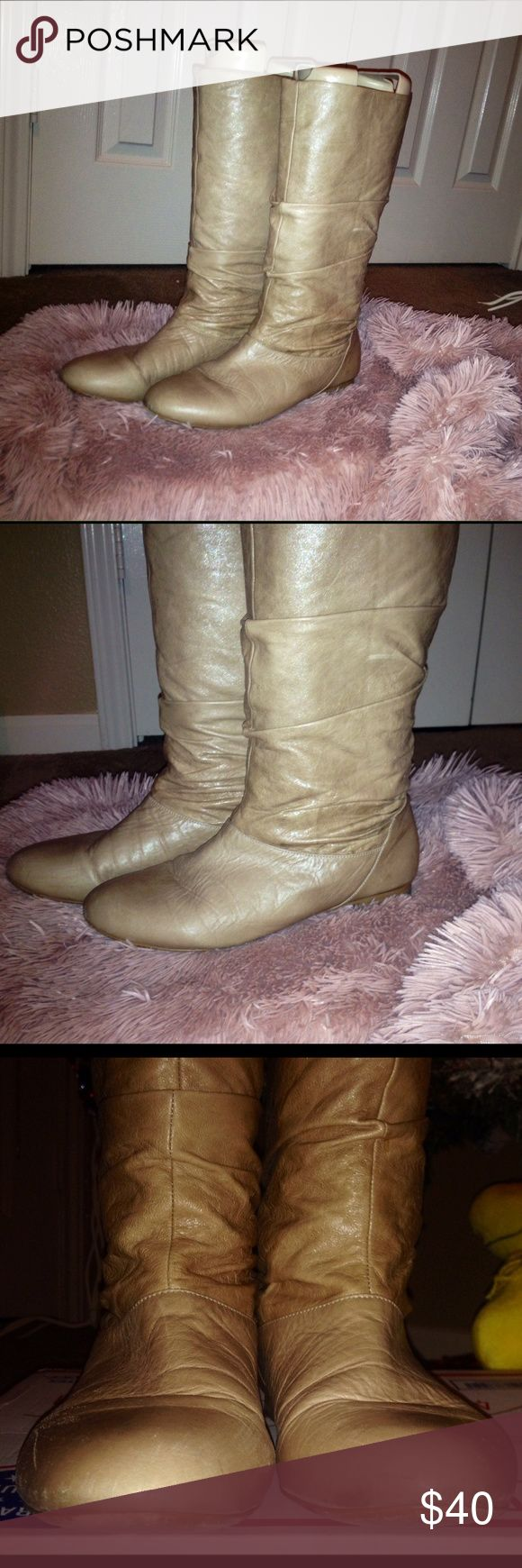 Nude Aldo slouch boots Nude Aldo boots have been loved but have lots of life left in them Aldo Shoes Winter & Rain Boots