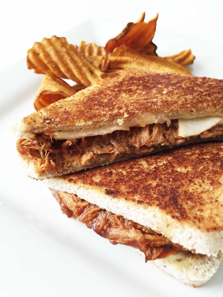 Healthified B.B.Q. Pulled Pork Grilled Cheese — Servings: 6 • Size: 1 Grilled Cheese • Calories: 389.5 • Fat: 13 g • Carb: 38.1 g • Fiber: 4 g • Protein: 34.2 g • Sugar: 5 g • Sodium: 627.9 mg