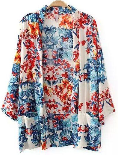 Kimono suelto floral bolsillos-Multicolor 14.72