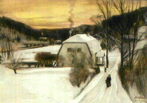 Albert Edelfelt (Finnish, 1854–1905) - Från en tavastländsk herrgård, vinter , 1902, watercolor, 36 x 53 cm. (14.2 x 20.9 in.)