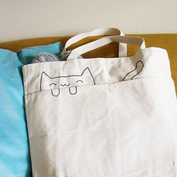 Stitch your own DIY embroidered cat tote bag with this free and easy pattern!