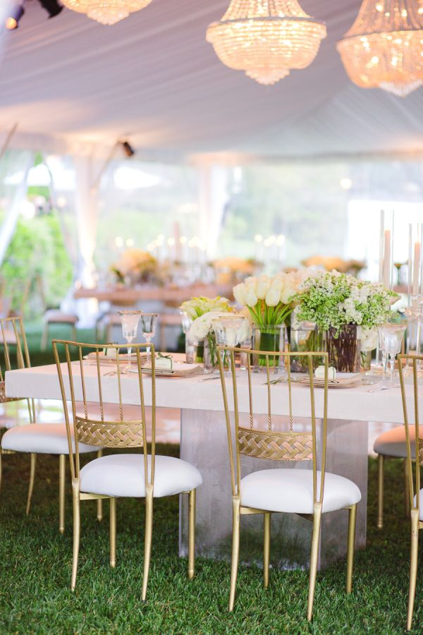 Morgan Stewart's elegant reception decor: http://www.stylemepretty.com/2016/06/20/steal-the-look-morgan-stewarts-glam-all-white-wedding/