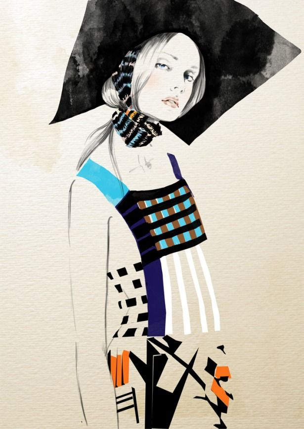 Colour, shape and line. Fashion Illustration by Sandra Suy proving that sometimes less is more...