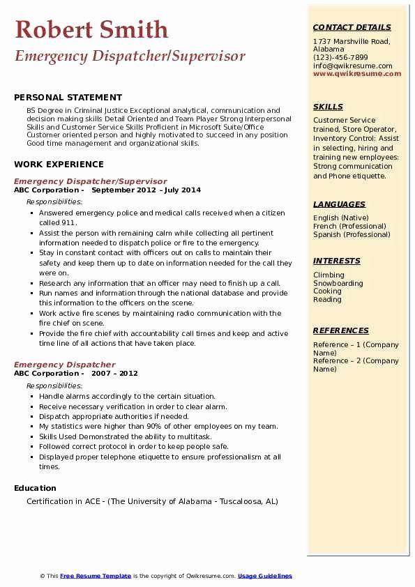 Dispatcher Job Description Resume Inspirational Emergency Dispatcher Resume Samples In 2020 Job Description Resume Sales Manager Jobs