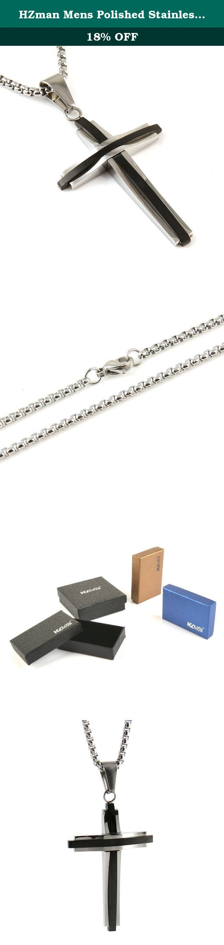 """HZman Mens Polished Stainless Steel Silver Black Tone Cross Pendant Necklace 24"""" Rolo Cable Wheat Chain. 30 DAY MONEY BACK GUARANTEE-100% satisfaction guaranteed. That is our promise. So, if you're not completely happy with your purchase within the first 30 days, just let us know. We will do whatever it takes to make it right Provide The Best Quality jewelry and Customer Service on Amazon. Why choose Stainless Steel Jewelry? Stainless Steel jewelry does not tarnish and oxidize, which can..."""
