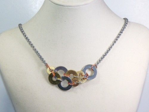 Industrial Hardware Necklace Chainmaille Handmade Washer Jewelry