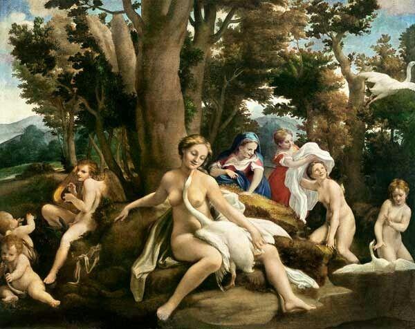 Leda e il cigno. Olio su tela.  1531-1532. 151x191 cm. Gemäldegalerie Berlin