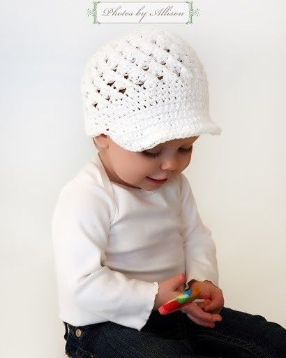Children Clothing, Summer Hat, Kid Hats, Crochet Hat for Baby Girl Newsboy Cap Beanie Hat with Visor - White