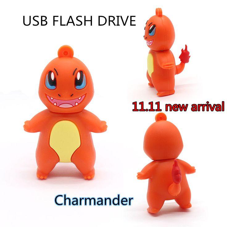 cartoon Charmander pen drive 32GB 64gb USB Flash Drive pocket monster flash drive real capacity pendrive 8GB 16GB memoria stick #shoes, #jewelry, #women, #men, #hats