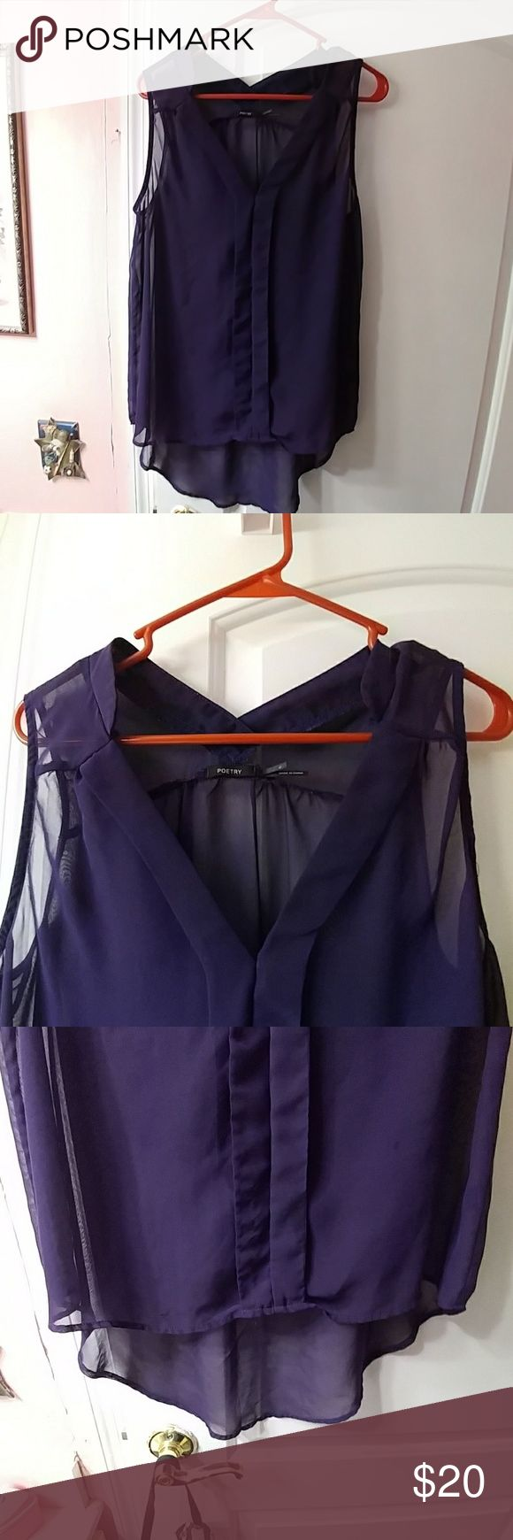 Blouse the one I had on my profile Very sheer purple high low blouse folder in the front very nice Poetry Tops Blouses