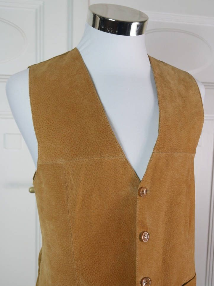 German Vintage Leather Vest Men's, Golden Tan Leather Waistcoat w Polyester Satin Back, Butterscotch Colored Leather: Size L by YouLookAmazing on Etsy
