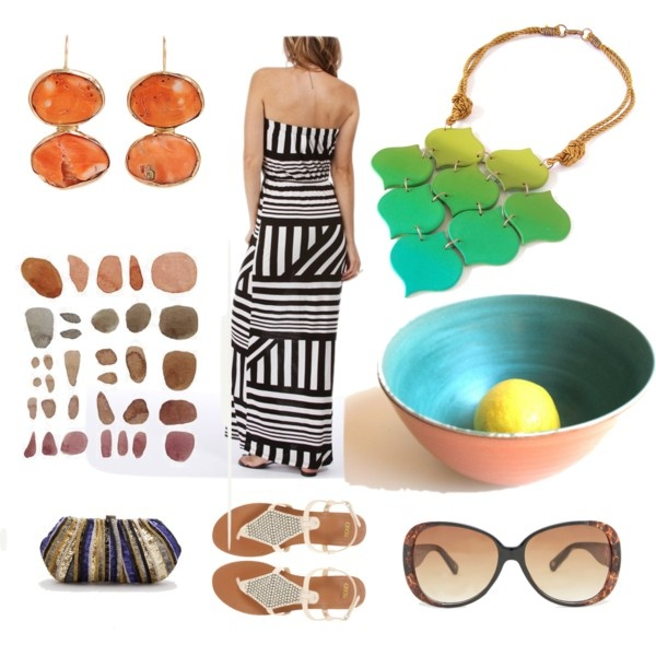 "drop earrings: http://www.barneys.com/Sandra-Dini-Orange-Coral-Oval-Drop-Earrings/00505009480940,default,pd.html?utm_source=GAN_medium=Polyvore_campaign=Primary    painting: http://www.etsy.com/listing/76802375/original-painting-watercolor-pebbles  ceramic bowl: http://www.etsy.com/listing/106619223/ceramic-bowl-glazed-pottery-wheel-thrown?ref=v1_other_2  bib necklace: https://www.etsy.com/listing/102700054/bib-necklace-turquoise-aqua-banana-green    ""Earthy"" by dorijanki on Polyvore"