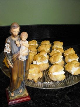 Making Cream Puffs for St. Joseph's Feast Day on March 19th is traditional. We do it even when it falls during Lent--We also do this St. Joseph's novena.