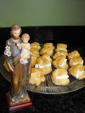 Profiteroles or Cream Puffs are traditional St. Joseph's Feast day fare