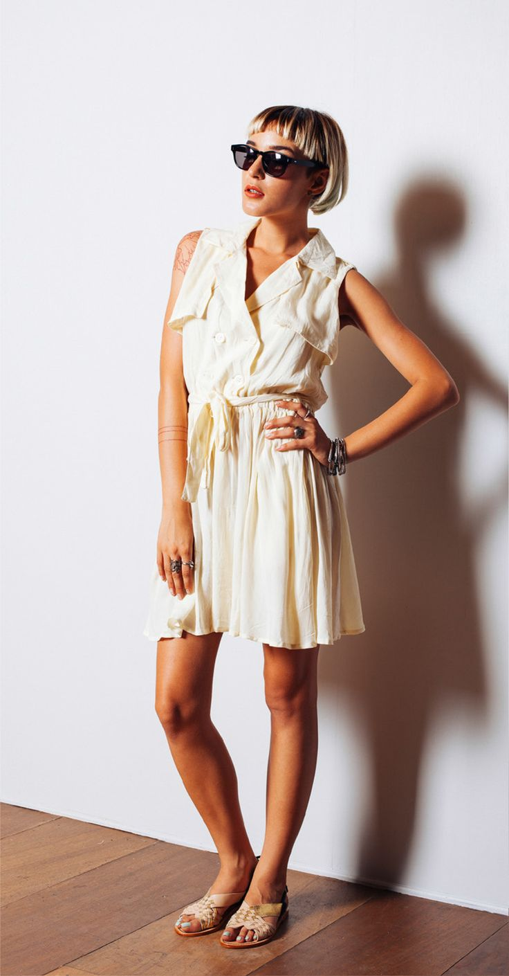 Maidenlove 'Luella' dress in Vanilla and 'Arrow' woven sandal http://www.maidenlove.net/