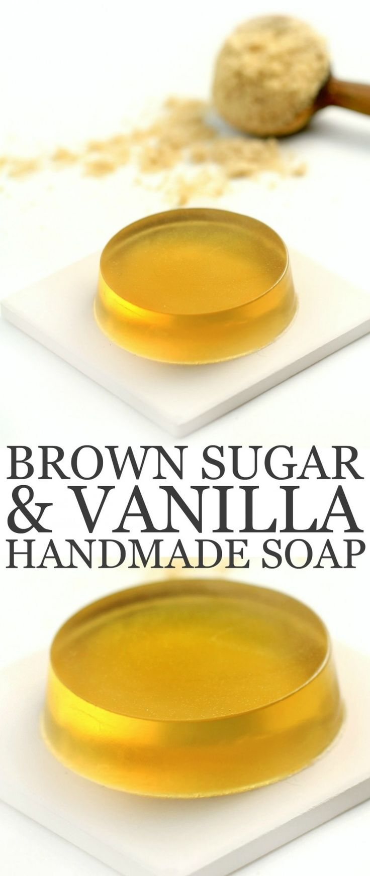 The Brown Sugar in this Brown Sugar and Vanilla Handmade Soap gives it a beautiful translucent golden colour with a light and sweet scent enhanced by the vanilla essential oil.