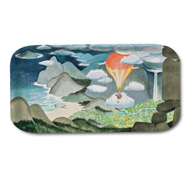Exquisite tray with beautiful colors, see the lovely Moominvalley on this tray. Handmade tray with a classic motif taken from Tove Jansson's original drawings.