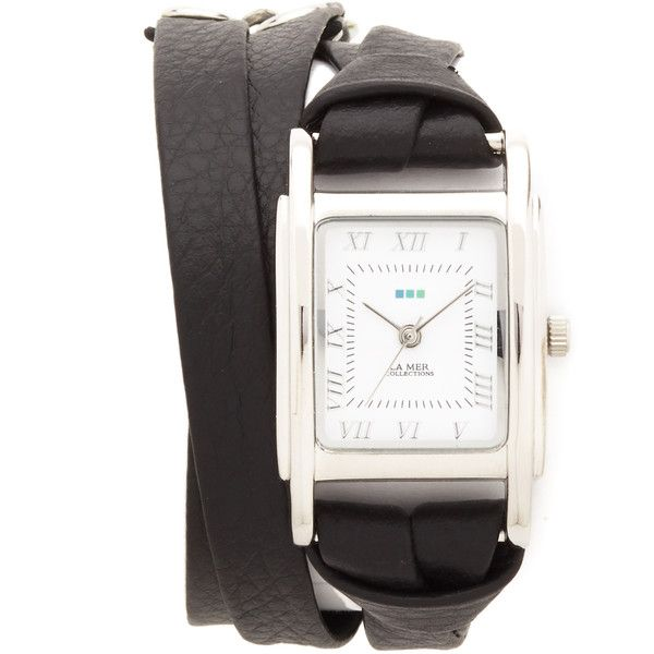 La Mer Collections Italian Wrap Watch (100,235 KRW) ❤ liked on Polyvore featuring jewelry, watches, la mer jewelry, roman numeral watches, leather band watches, chain watches and wrap around watches
