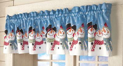 Festive Snowman Window Valance