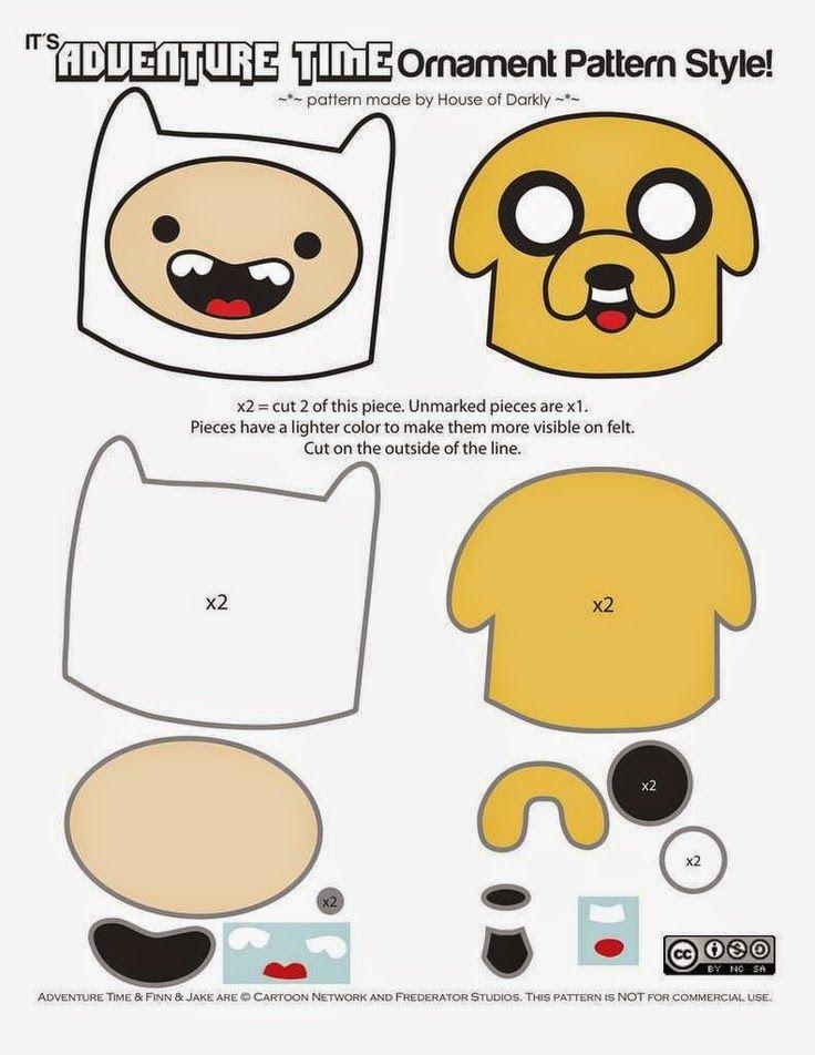 ARTE COM QUIANE - Paps,Moldes,E.V.A,Feltro,Costuras,Fofuchas 3D: Molde Adventure Time_Hora de Aventura