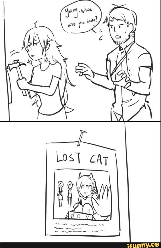 Yang putting up lost cat posters for Blake. XD