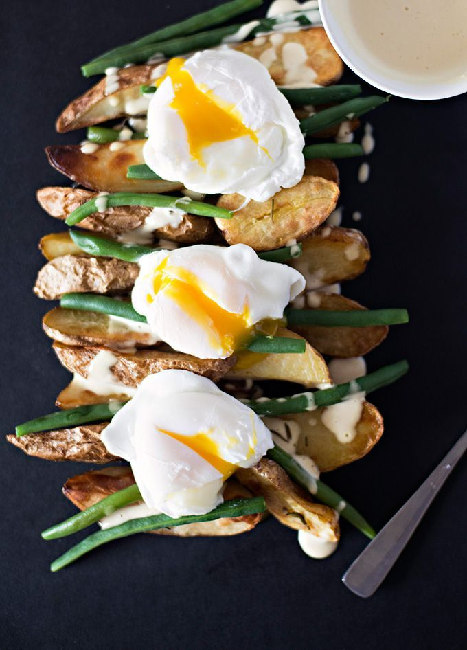 Roasted Fingerling Potatoes with Poached Eggs and Mustard Mayo – 60 minutes recipe | Adore Foods www.adorefoods.com