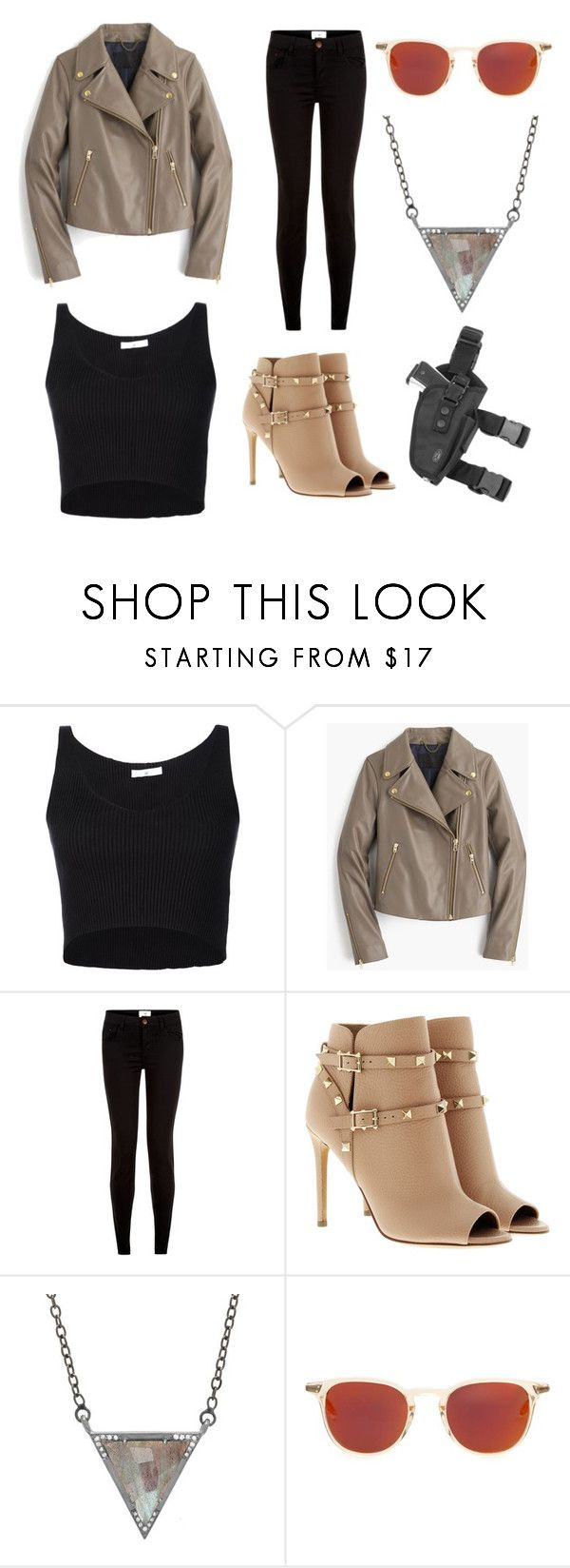 """NATASHA ROMANOFF"" by carolinelaufeyson ❤ liked on Polyvore featuring 321, J.Crew, New Look, Valentino, ADORNIA and Oliver Peoples"
