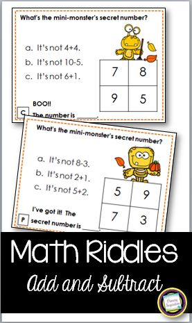 24 math task cards for addition and subtraction from 1-10. Your students will have fun solving three number models on each of the cards to discover Mini-Monster's Secret Number!  They'll hardly realize that by the end of this set, they'll have solved 72 problems! Student recording page and answer key are included