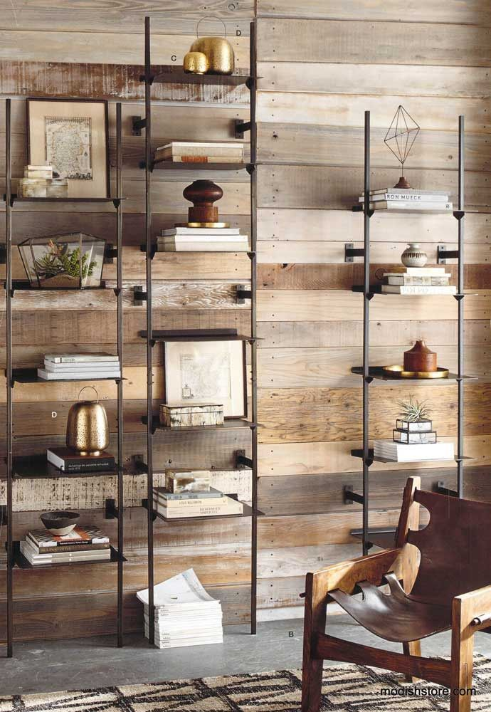 The Conservatory Bookshelves by Roost. Industrial minimalist decor.STRONG SHARP LINES. display unit.