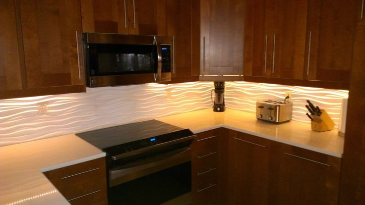 Our Kitchen With A Modular Tiles Quot Dune Quot Backsplash And Led