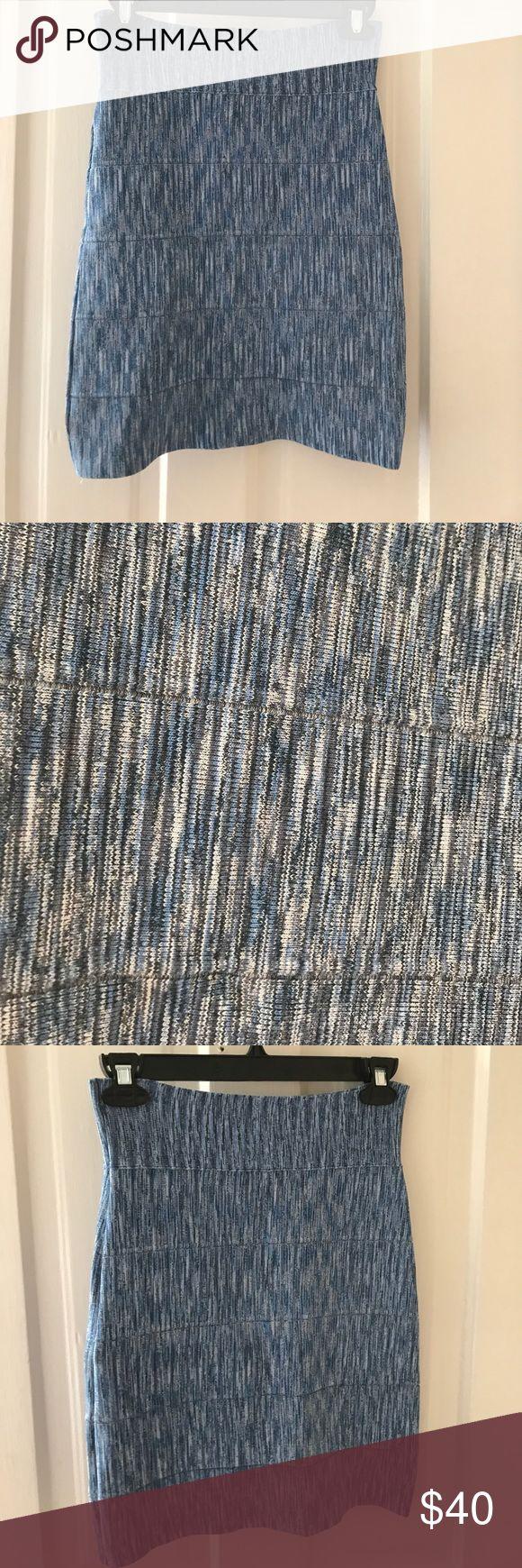 BCBGMAXAZRIA tight blue patterned skirt BCBGMAXAZRIA tight skirt. Size Small. Blue pattern. BCBGMaxAzria Skirts