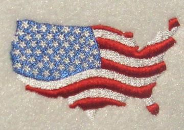 USA Country Flag Map Embroidery Design