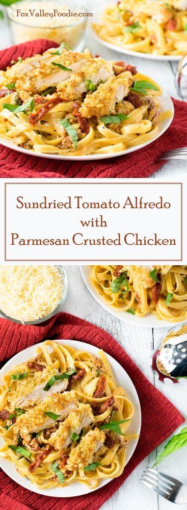 Sundried Tomato Alfredo with Parmesan Crusted Chicken Recipe