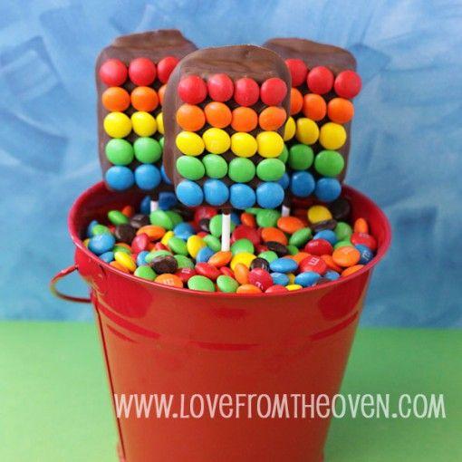 far too many wonderful-looking ideas to make with rice krispies treats!!: Rainbow Treats, Treats Pops, Rice Krispies Treats, Rainbow Party, Patricks, Krispy Treats, Rice Krispie Treats