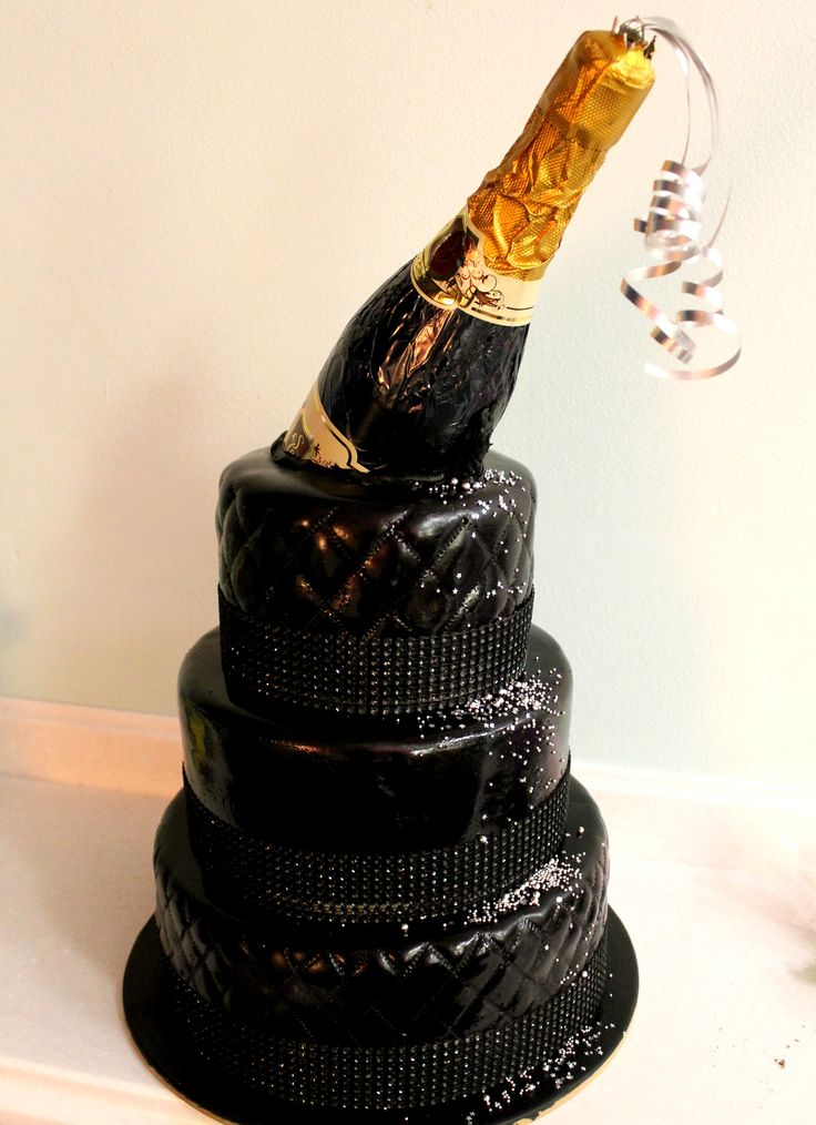 21st Birthday Cake With Chocolate Champagne Bottle