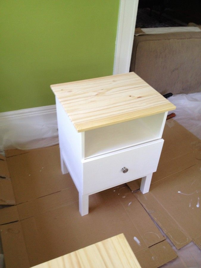 Ikea Side, Ikea Hacks, Bedside Tables, Tarva Painting, Painting Ikea