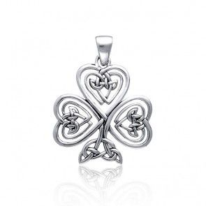 Bling Jewelry Celtic Knot Heart Clover Sterling Silver Pendant - Rellek Jewelry