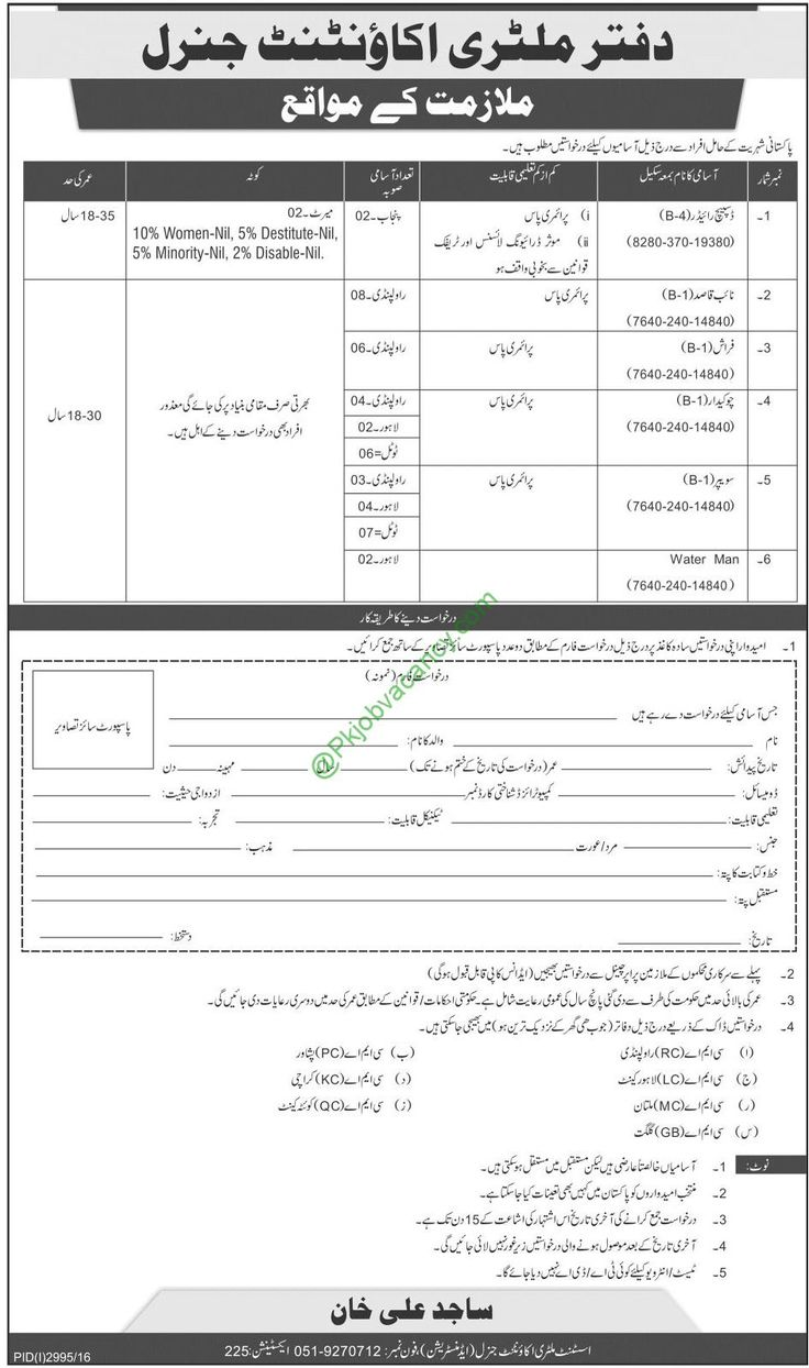 Military Accountant General Office December 2016 Jobs Application Form  Download   Jobs In Pakistan   Pinterest