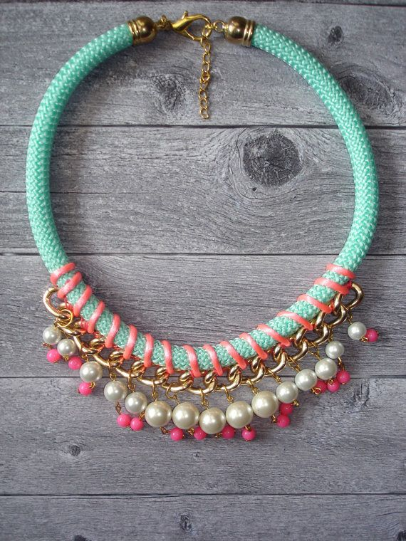 Cherry Statement  Rope Necklace / Rope Necklace / Statement Necklace / Summer necklace/ Braided rope necklace