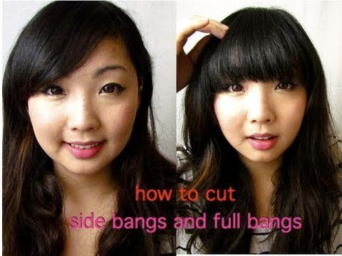 Easy Tips to Cut Your Own Side & Full (Blunt) Bangs. Awesome youtube hair tutorial from Elisa Sung.