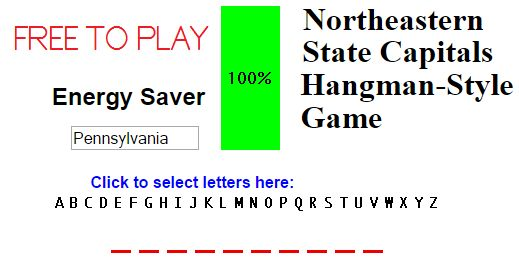 Northeastern U.S. State Capitals Hangman-Style Quiz Game - Free to play. No log-in needed.