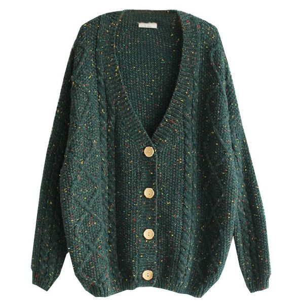 Colored Dots V-neckline Cable-knit Cardigan (€57) ❤ liked on Polyvore featuring tops, cardigans, sweaters, outerwear, polka dot cardigan, knit tops, knit cardigan, lightweight knit cardigan and cable knit cardigan