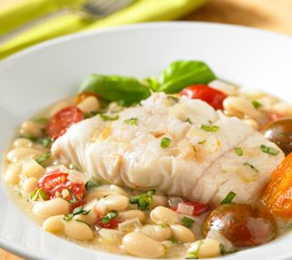 Baked Cod Fillets on White Bean and Cherry Tomato Stew