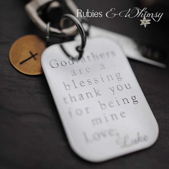 Godfather/Godmother Personalized Keychain, Engraved, Gift for Godparents, Christening gift, Baptismal gift, Godparents are a blessing