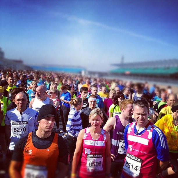 Crowds massing at the start line for the Silverstone Half Marathon